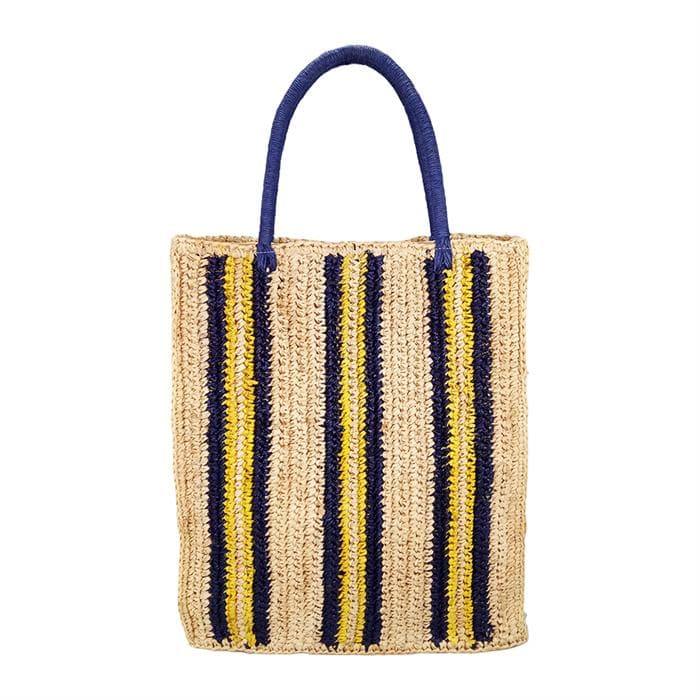 striated raffia tote bag