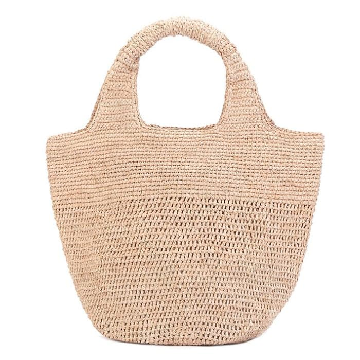 Natural raffia straw tote bag