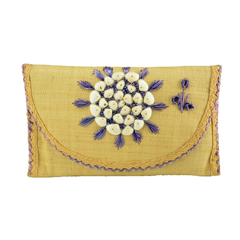 Moda embroidered raffia clutch