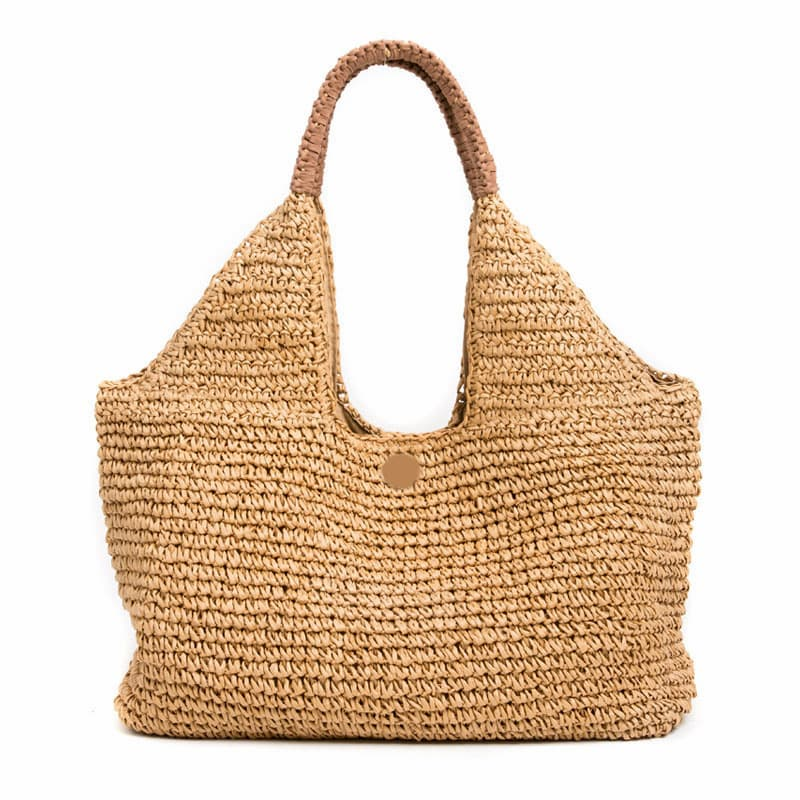 wrapped handle large straw shoulder bag