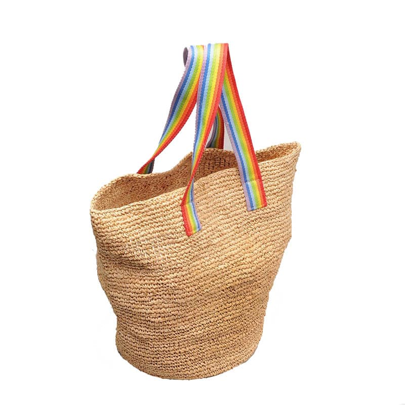 handmade crocheted raffia straw beach tote bag