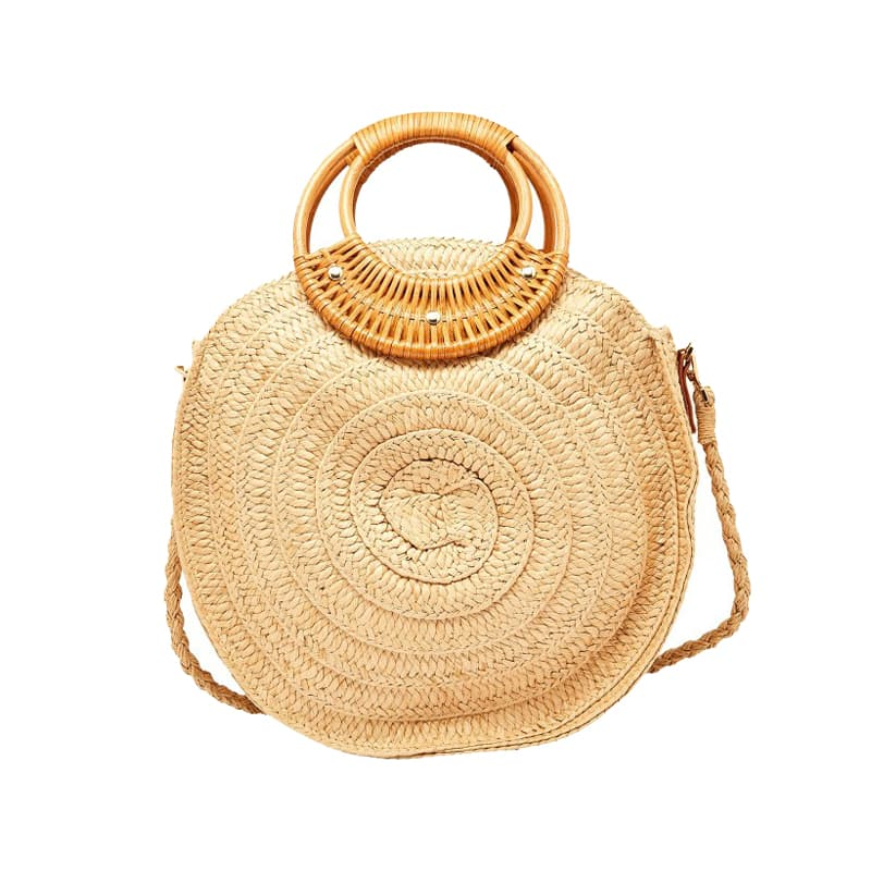 Fashion new design round shape crochet straw bag