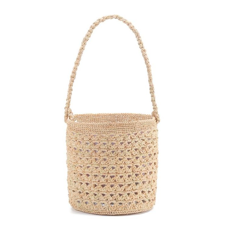 French style straw raffia bucket bag
