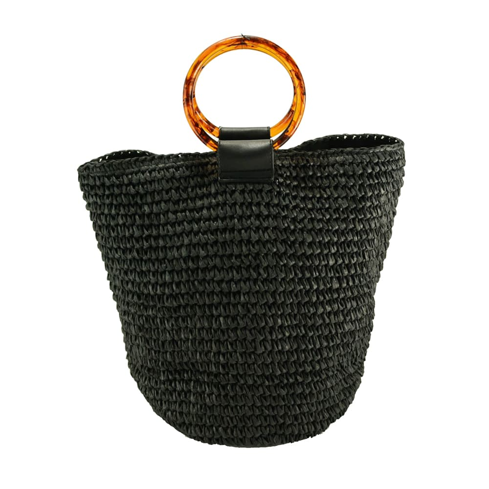 round straw tote bag with acrylic handle