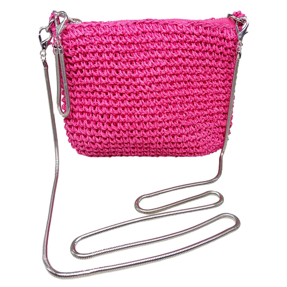 multicolor paper straw crossbody bag
