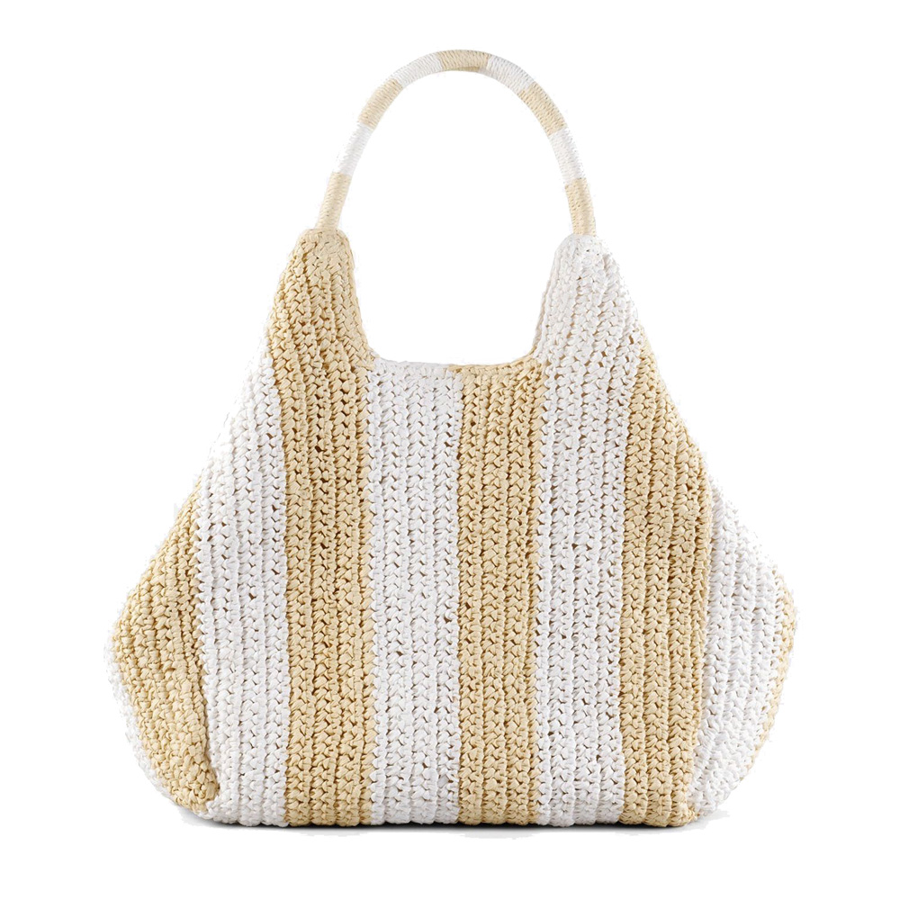 bicolor paper straw large shoulder bag