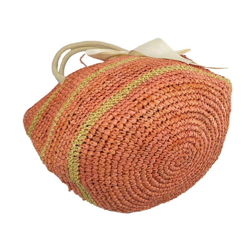 orange and beige raffia tote bag