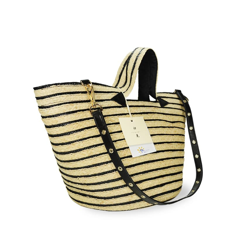 Love striped raffia tote