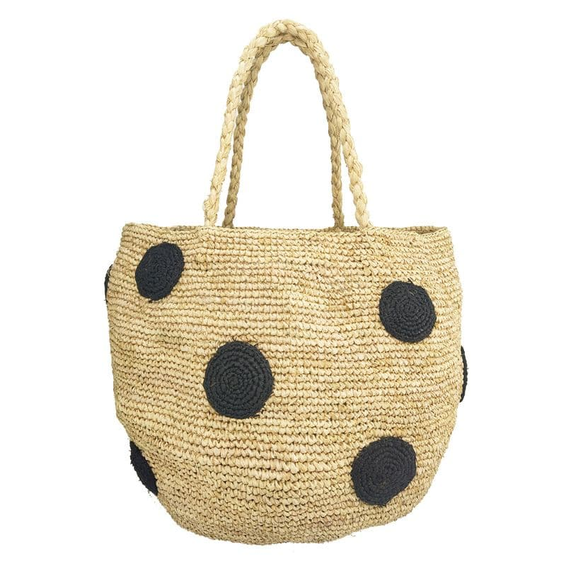 raffia straw bucket basket bag with black embroidery