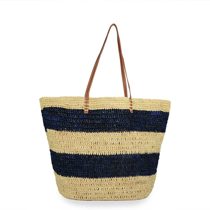 navy striped raffia tote bag made in China