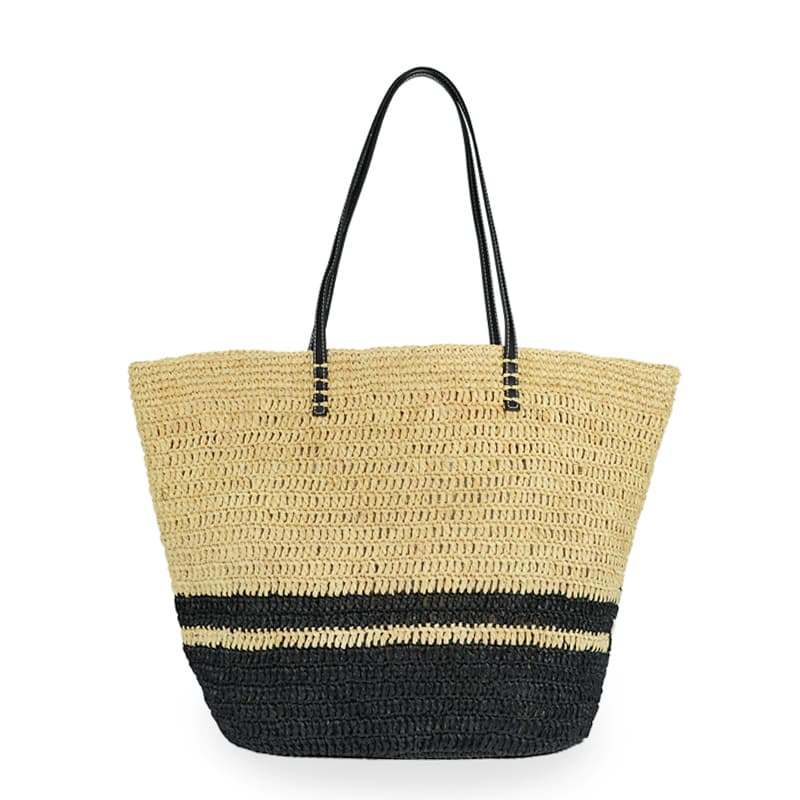 Raffia straw beach tote bag with leather handles
