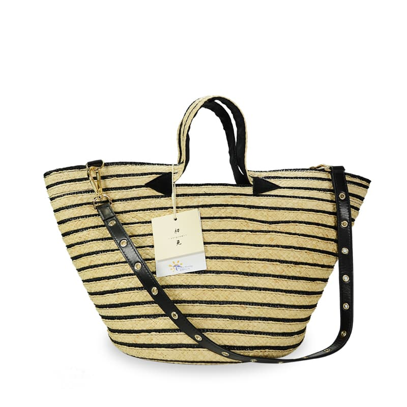 WAN striped raffia tote bag for SS20