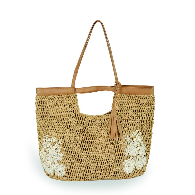 flower embroidery straw bag