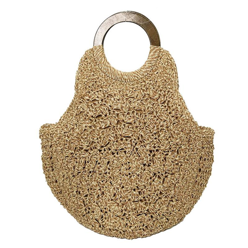 women's Woven bag Wooden handle straw Shoulder Bags