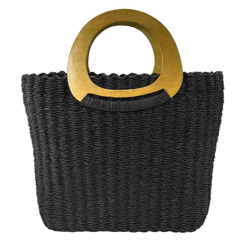 Handmade crocheted black paper straw tote handbag with wooden handles