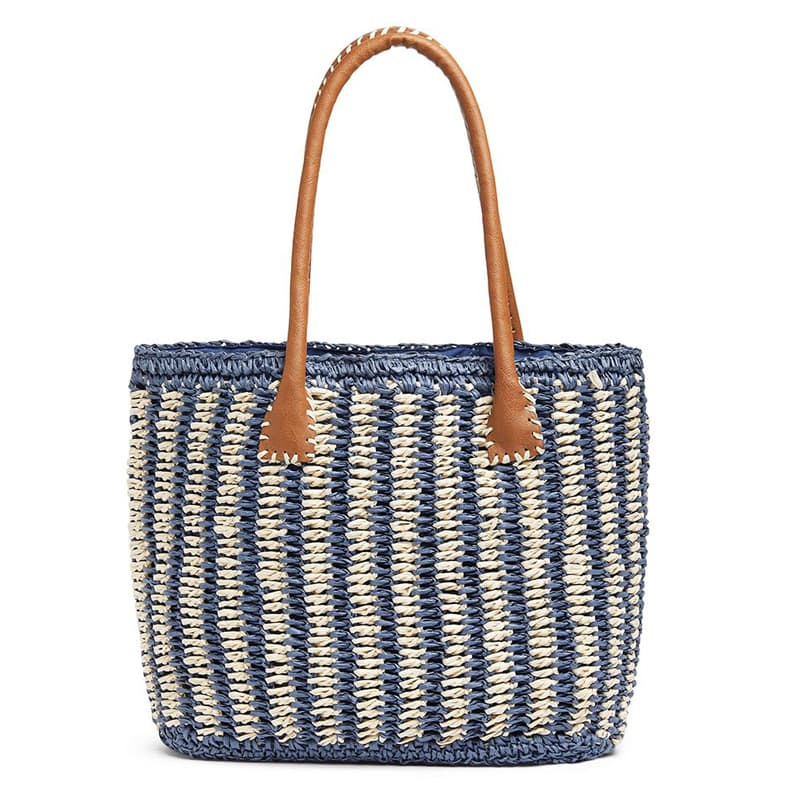 Handmade crocheted beige and navy stripe straw tote bag