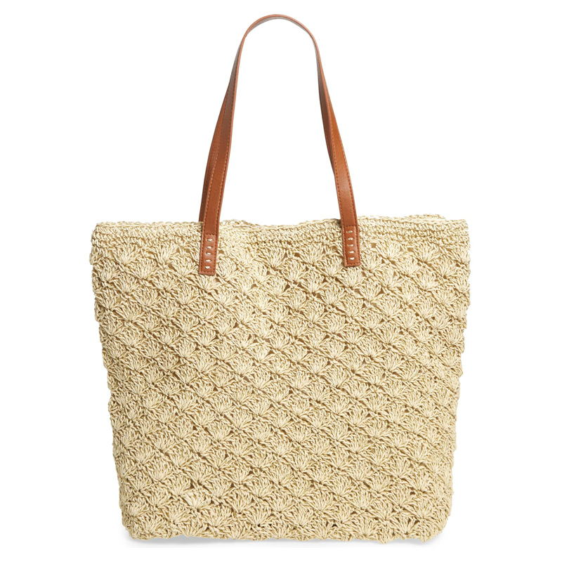Straw packable woven tote