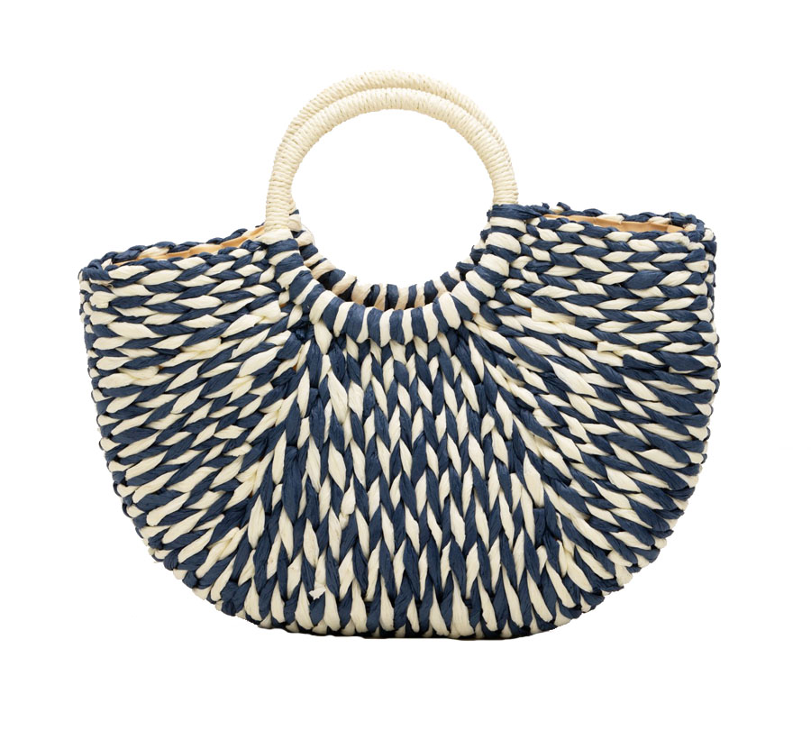 straw tote bag with round handles