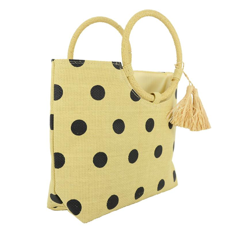 straw tote bag with dots printing