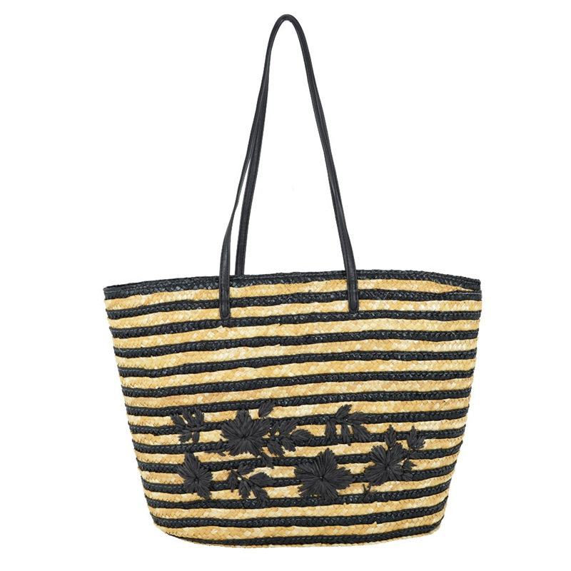 Fashion Eco-friendly embroidery woven tote shopping wheat straw beach bag tote with PU handles