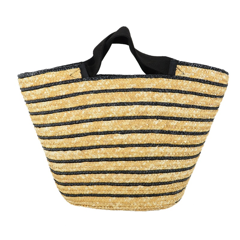 striped straw beach bag made in Qingdao