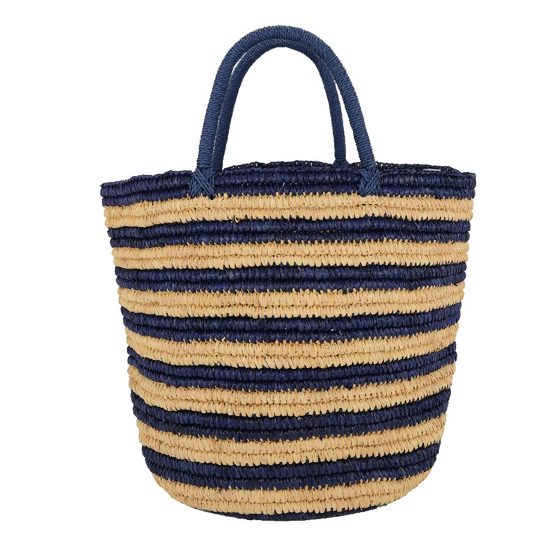 Striped straw raffia basket bag without lining