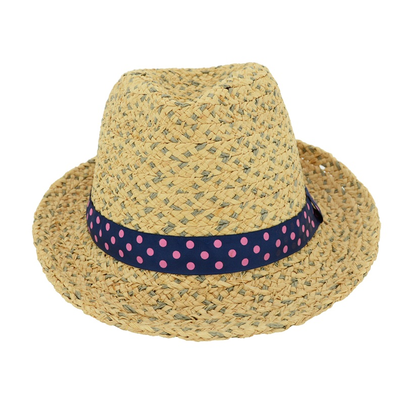 Lightweight simple raffia braid sun hat ribbon trim