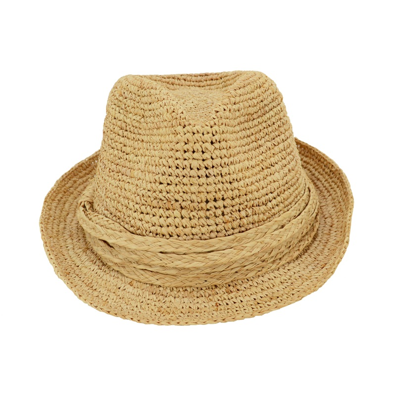 raffia straw fedora hat with raffia braid trim