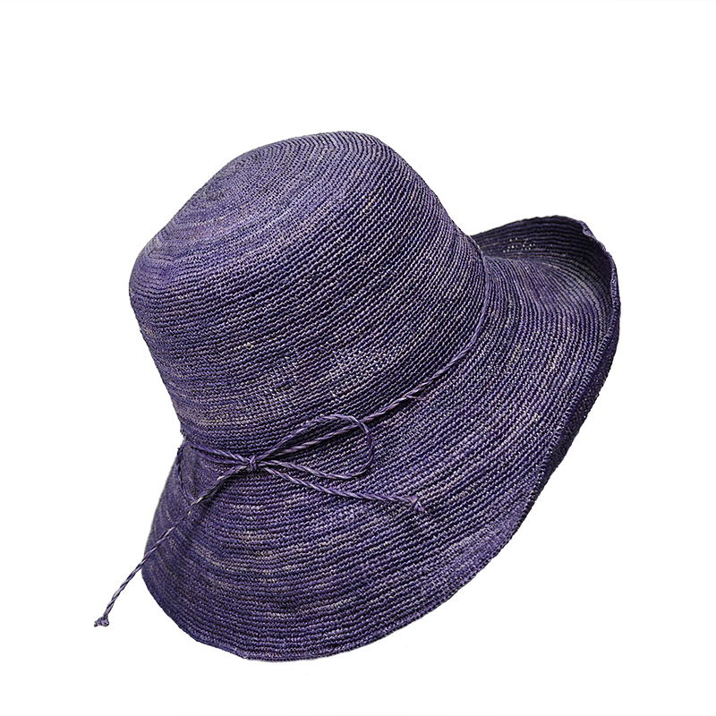 violet raffia bucket hat for women