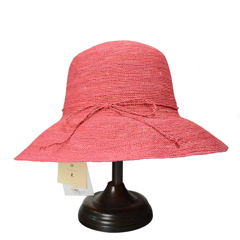 fuchsia raffia straw bucket hat for women