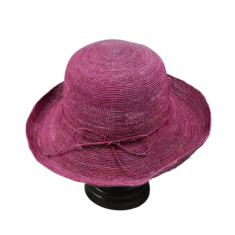 wine red raffia straw fisherman hat