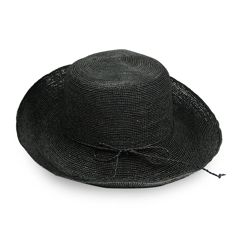 black raffia bucket hat for women