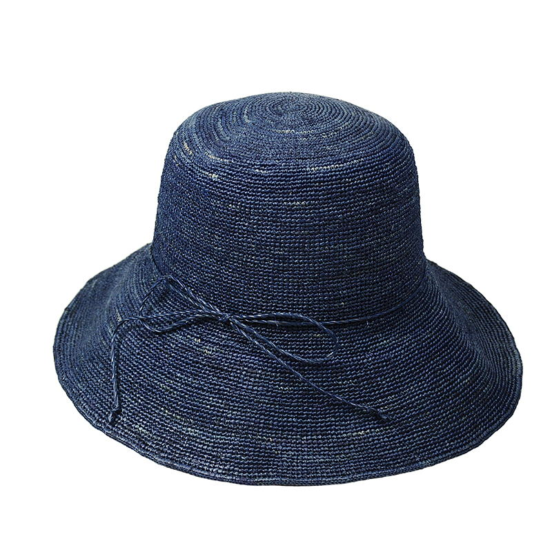 navy raffia bucket hats for women