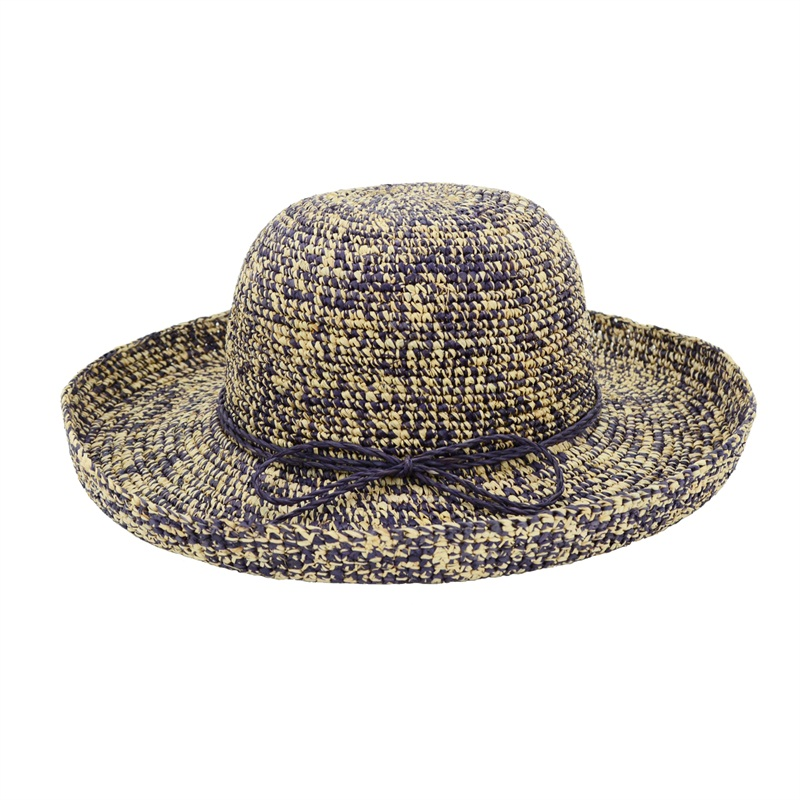 multicolor woven straw raffia hats in violet