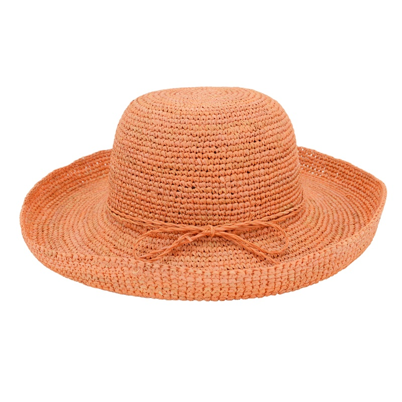 wide brim raffia beach hats in orange