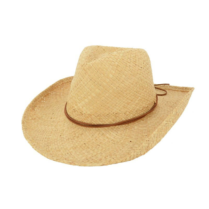 Raffia Cowgirl Hat with Leather Trim