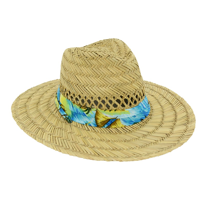 Men's Straw Outback Lifeguard Sun Hat with Chin Cord