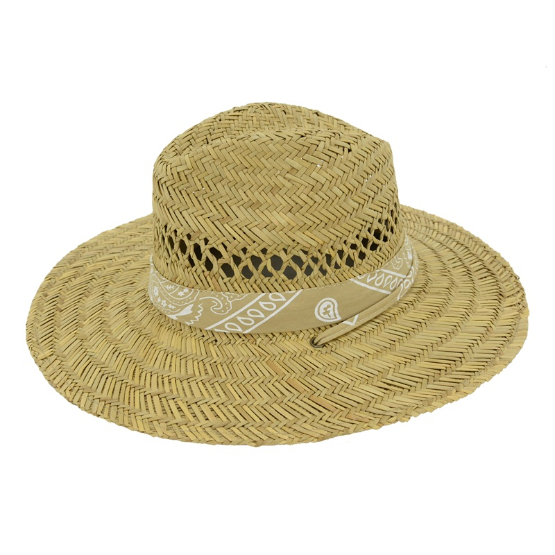 Men's Straw Outback Lifeguard,Beach Surfing,Outdoor Working, Vented Straw Sun Hat