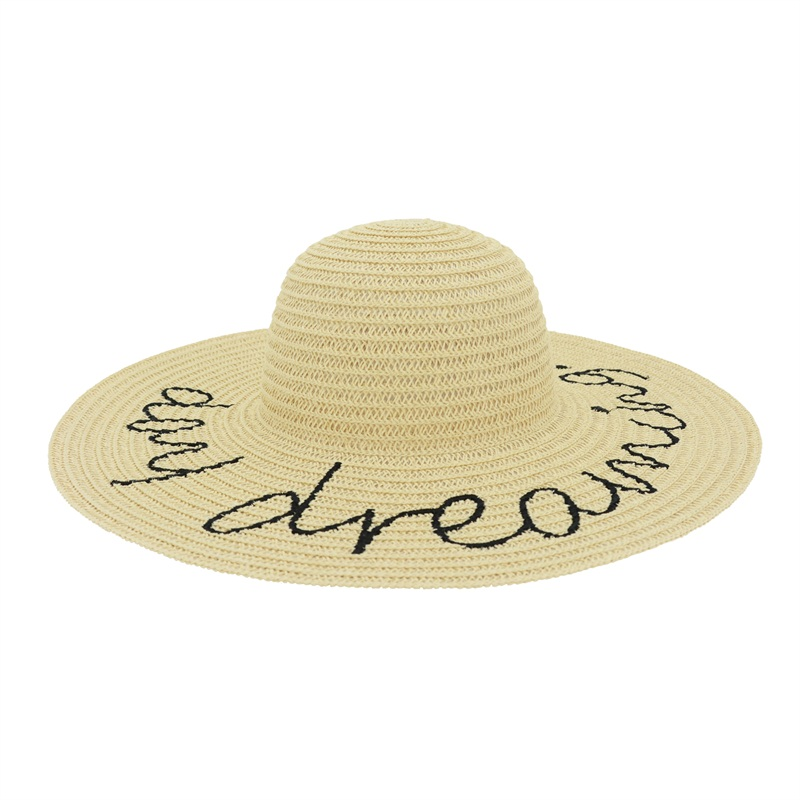 Fashion design wide brim straw hat with embroidery