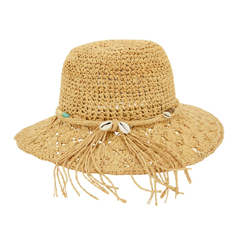 straw raffia hat with beads trims