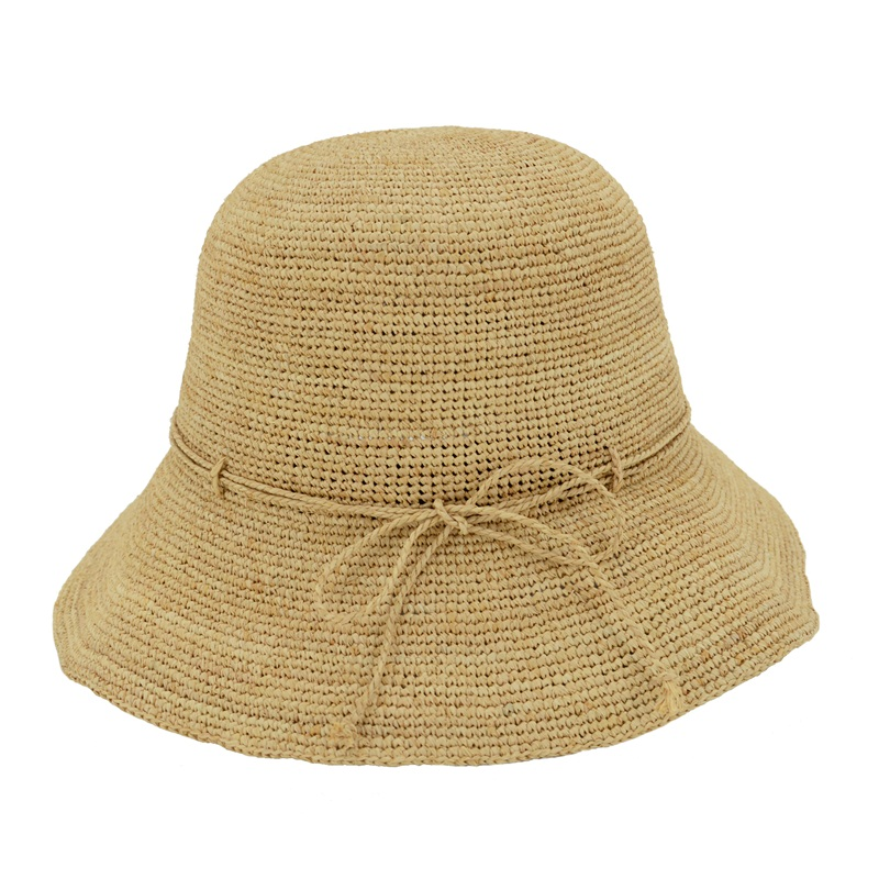 Lola crocheted raffia hat in natural raffia