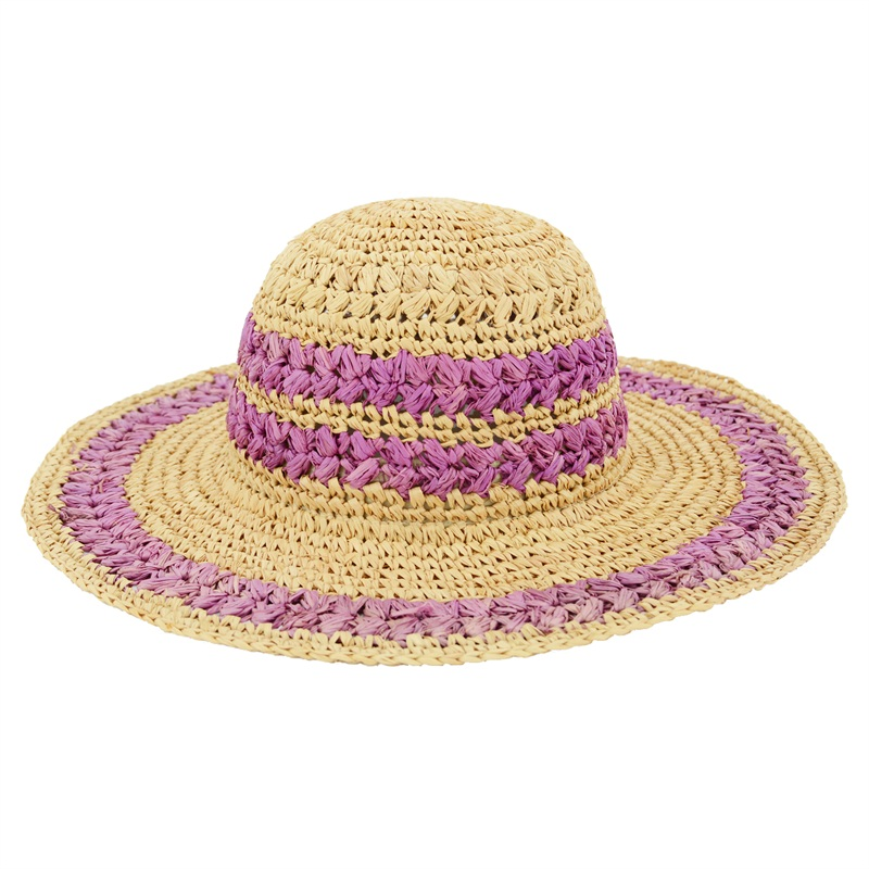 Wide Brim Raffia Straw Hat Striped Design