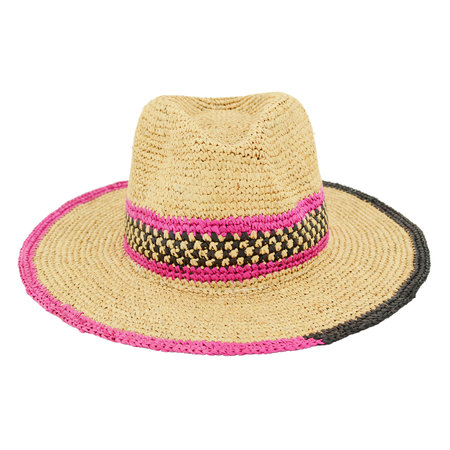 Wide Brim Raffia Panama Hat Striped Design