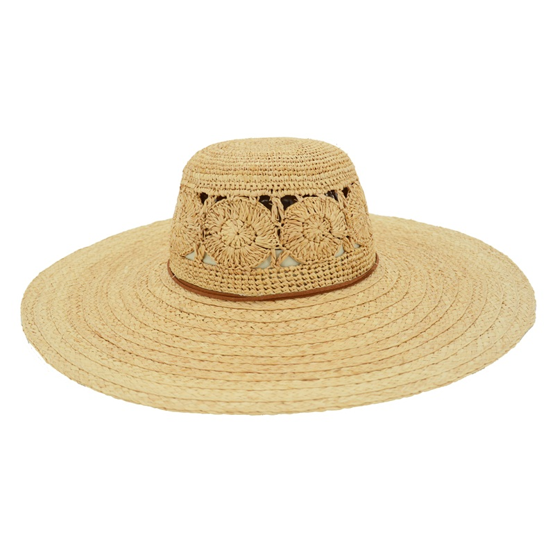 Wide brim raffia straw women summer hat