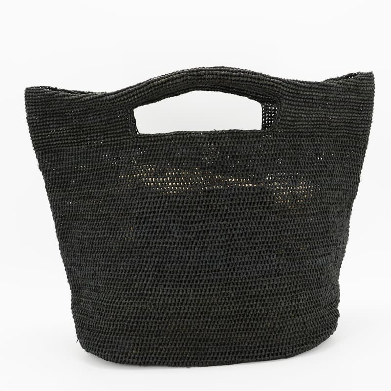 YAMA raffia tote bag made with black raffia