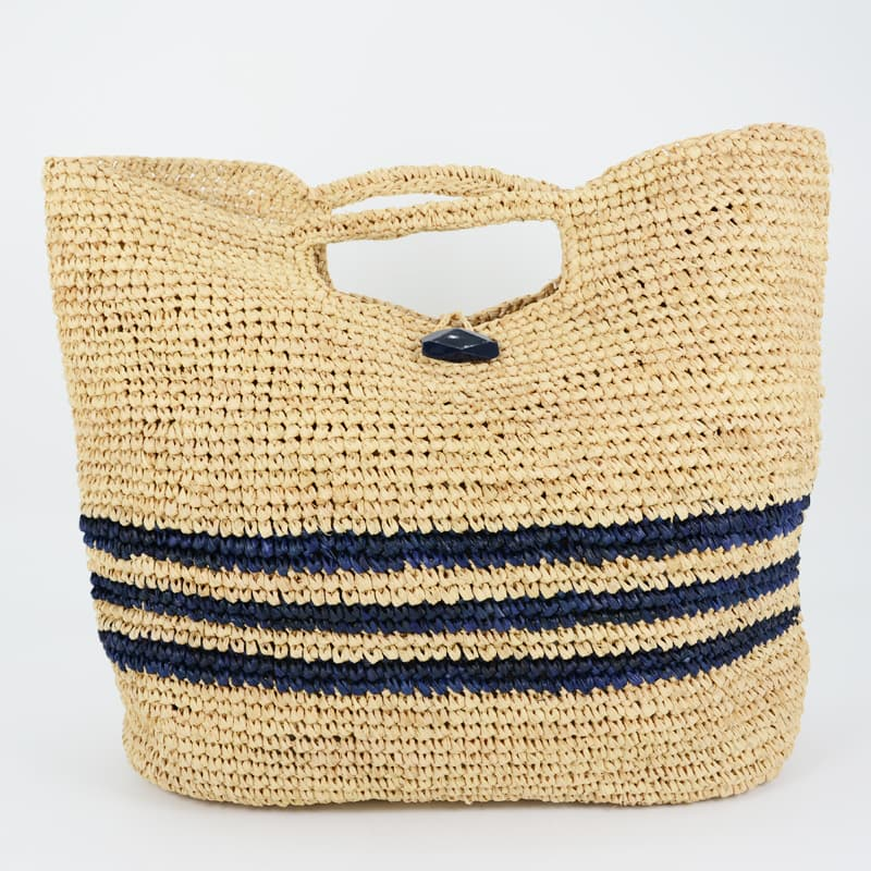 Sunday Morning striped raffia tote bags