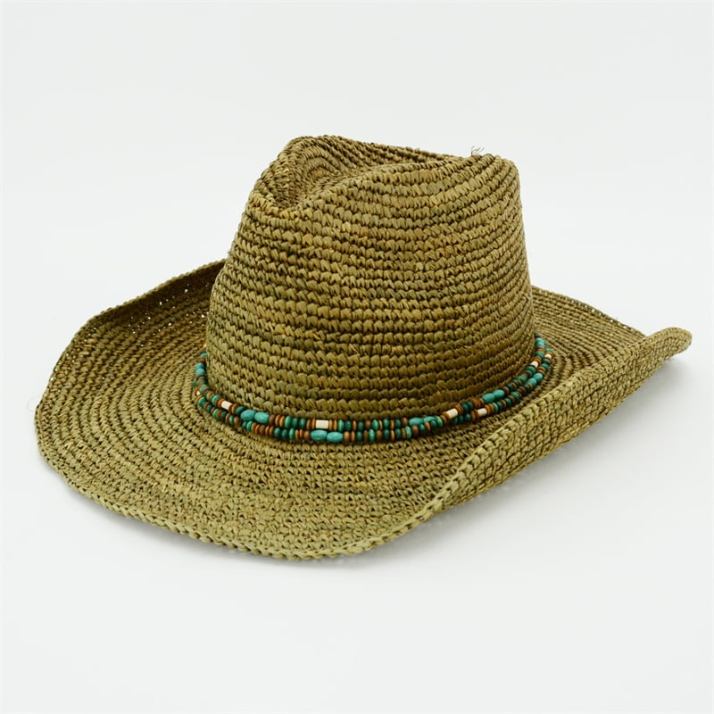 Raffia Cowgirl Hat with Wooden Beads Trimming
