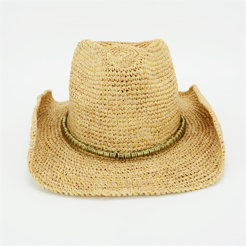 Raffia Cowgirl Hat with Beads Trimming