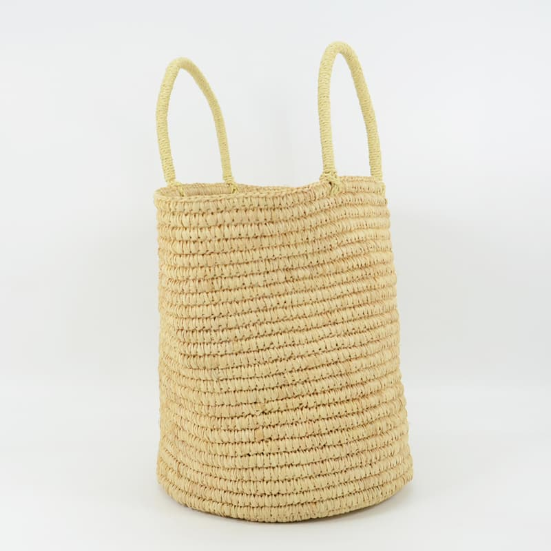Natural straw raffia tote bag without lining