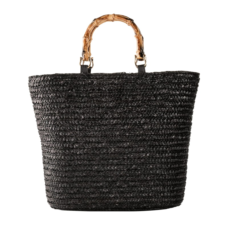 Black Wheat Straw Beach Bag for Summer